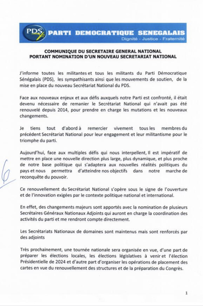 Situation politique : Le PDS renouvelle son Secrétariat national... (DOCUMENT)