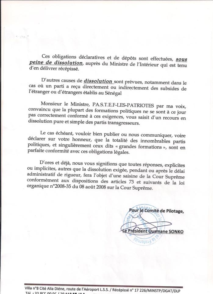 La Lettre Adressee Au Ministre De Linterieur Premier Acte Dune Procedure En Demande De Dissolution Des Formations Politiques Irregulieres Au Senegal Il