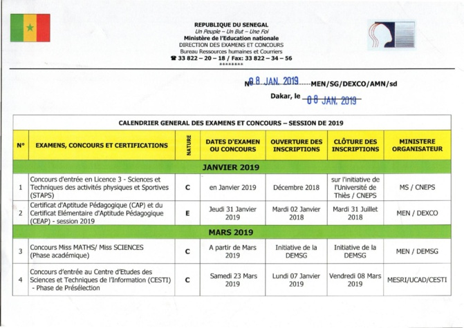 Education Nationale: Calendrier Général des Concours et Examens 2019