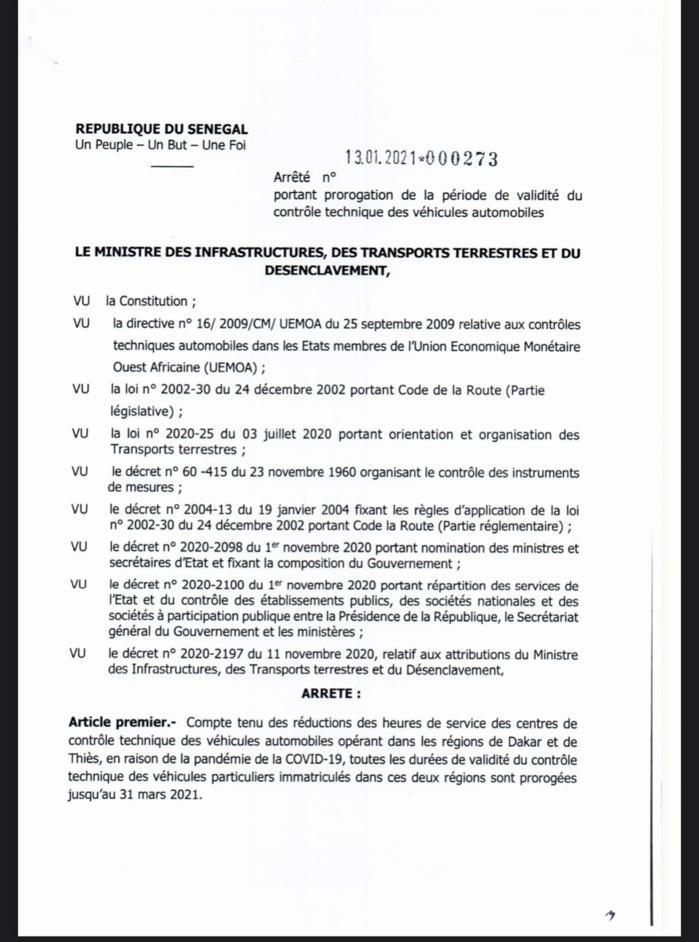 Sénégal : La durée de validité du contrôle des véhicules prolongée jusqu'au 31 mars 2021 (DOCUMENT)